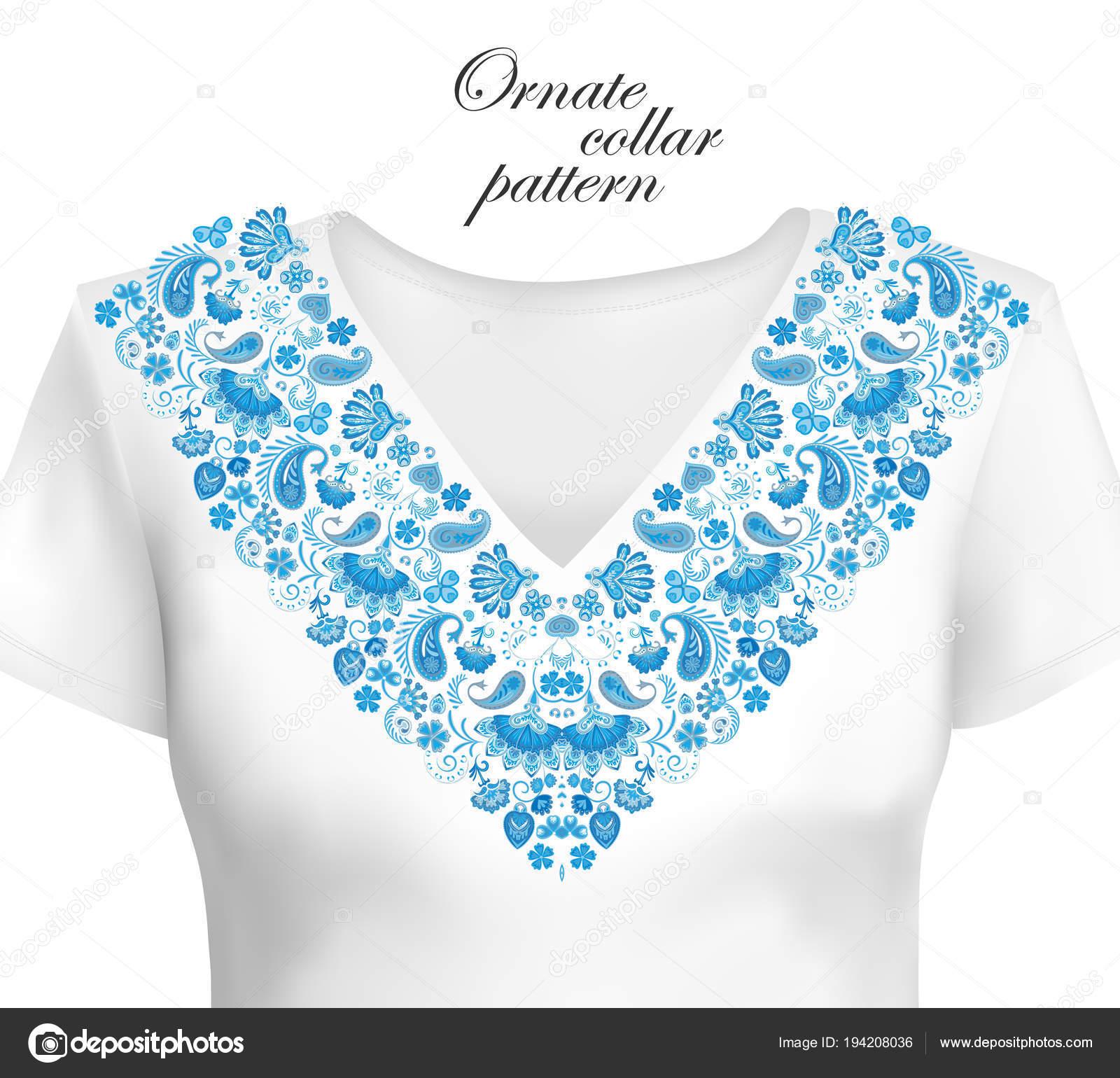 Diseño vectorial para camisas de cuello, camisas, blusas. Cuello de ...