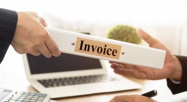 Staff send a documents Invoice folder to manager. Accounting, Accounts Payable, Accountancy Concept