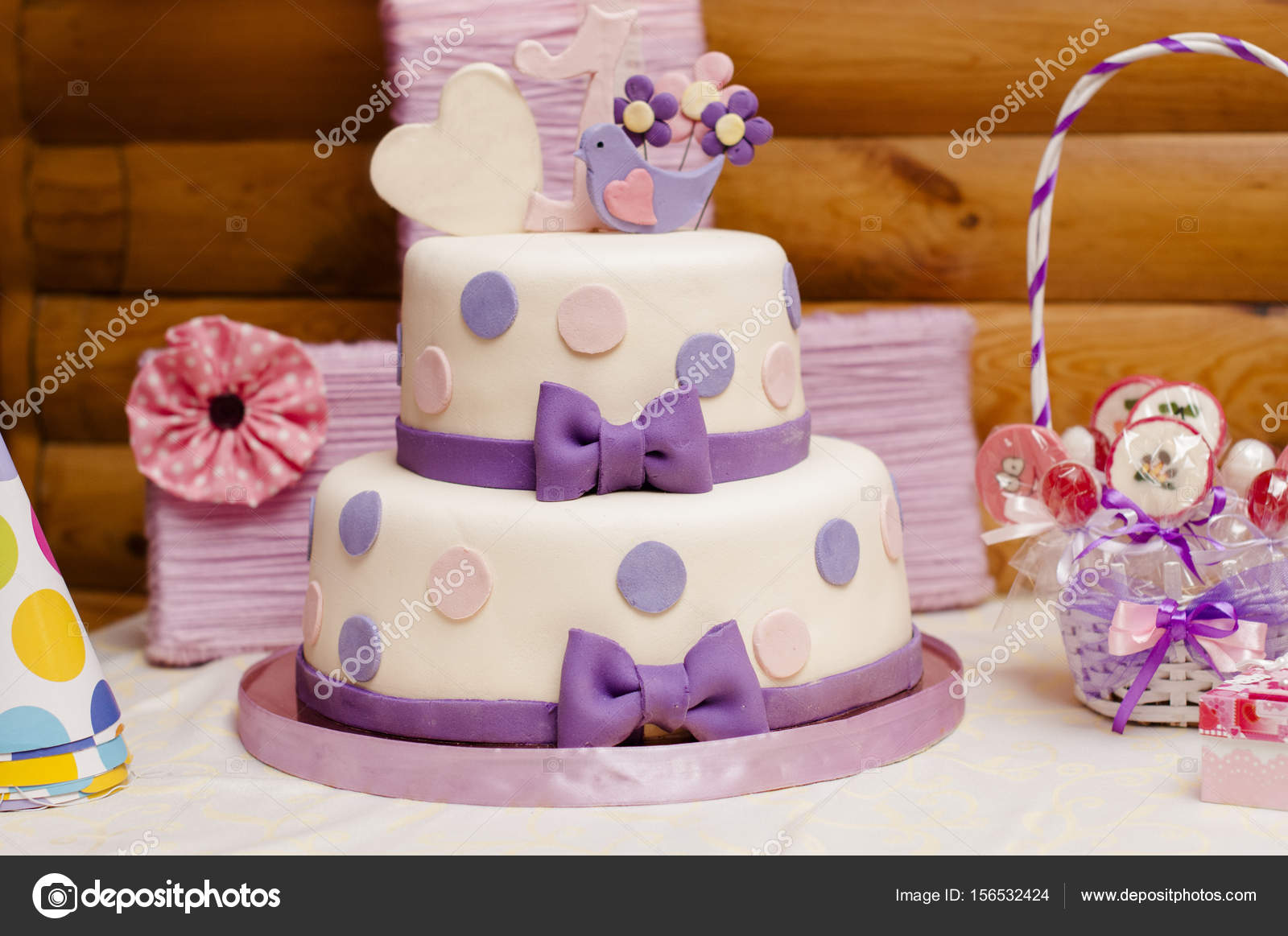 Twotier birthday cake Stock Photo nkrivko 156532424