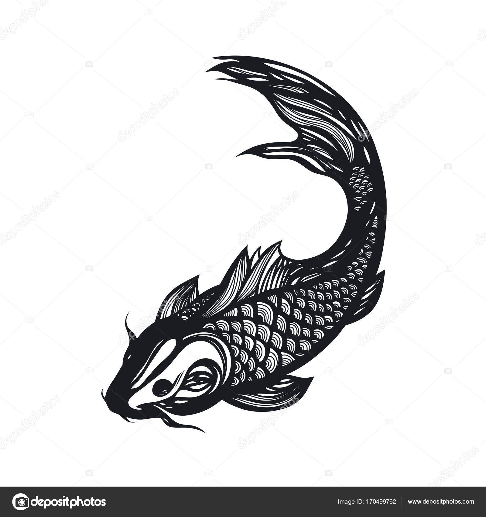Fish koi carp chinese symbol of good luck courage persistence chinese symbol of good luck courage persistence perseverance wisdom and vitality vector illustration hand drawn vector by aksiniyapolyarnaya buycottarizona