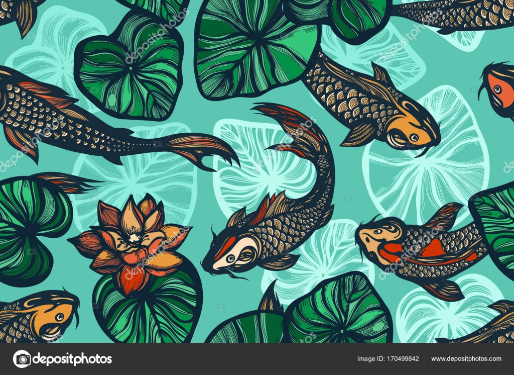 f7d9e78fd6a60 Hand drawn.– stock illustration. Seamless pattern with koi carp fish,  flowers and leaves of the lotus. Pond.