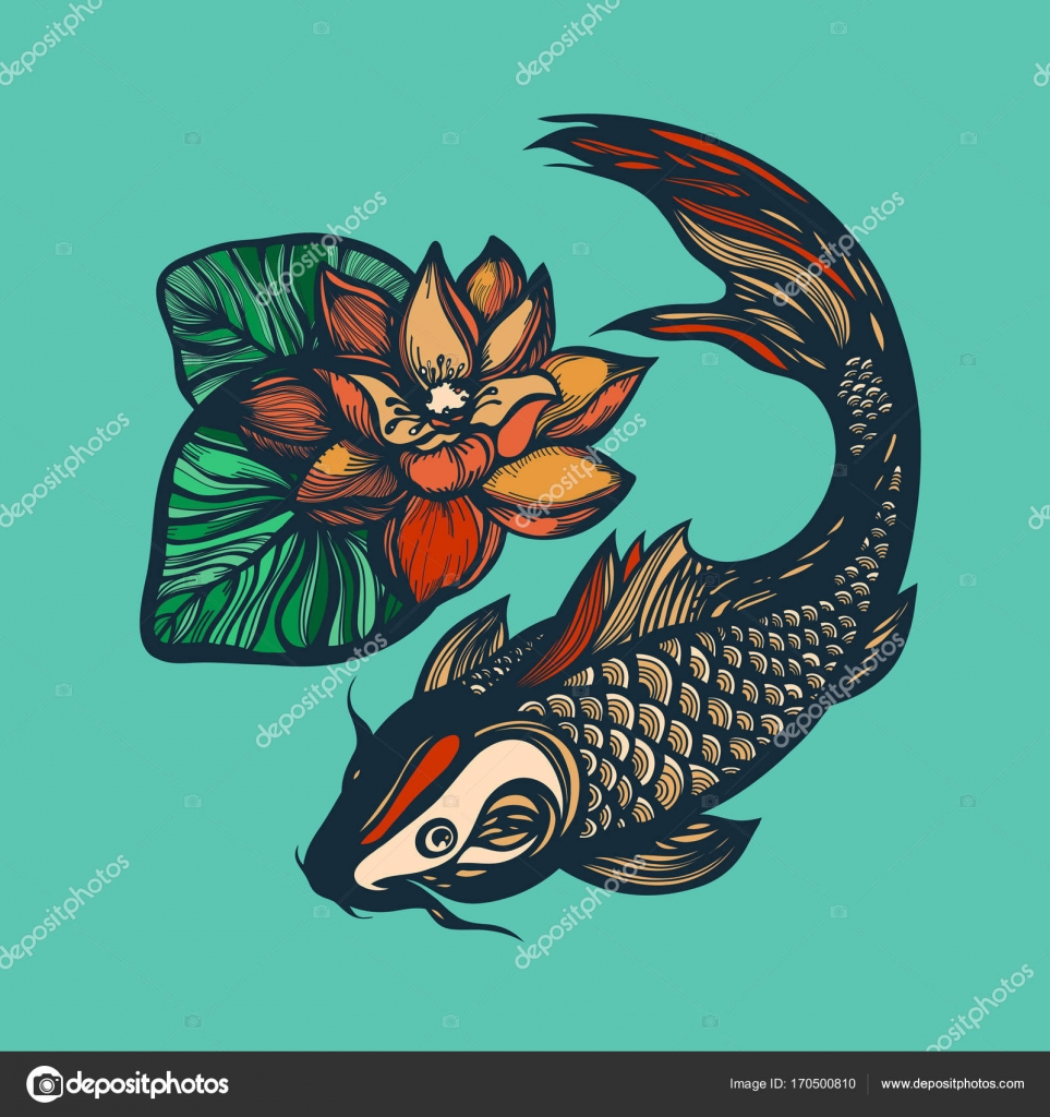 Fish Koi And Lotus Flower Print Chinese Style Chinese Symbol Of