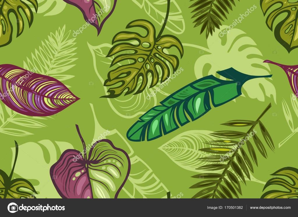 Carta Da Parati Foresta Tropicale : Modello senza cuciture con le foglie di piante tropicali. sfondo
