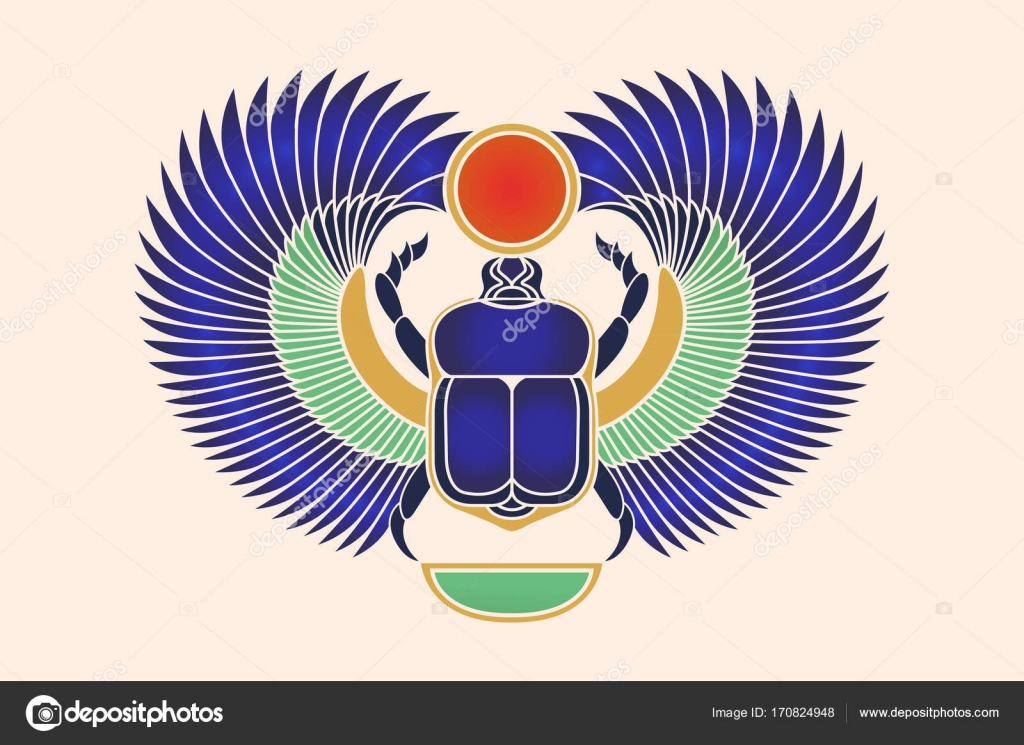Beetle Scarab With Wings Sun And A Crescent Moon Ancient Egyptian