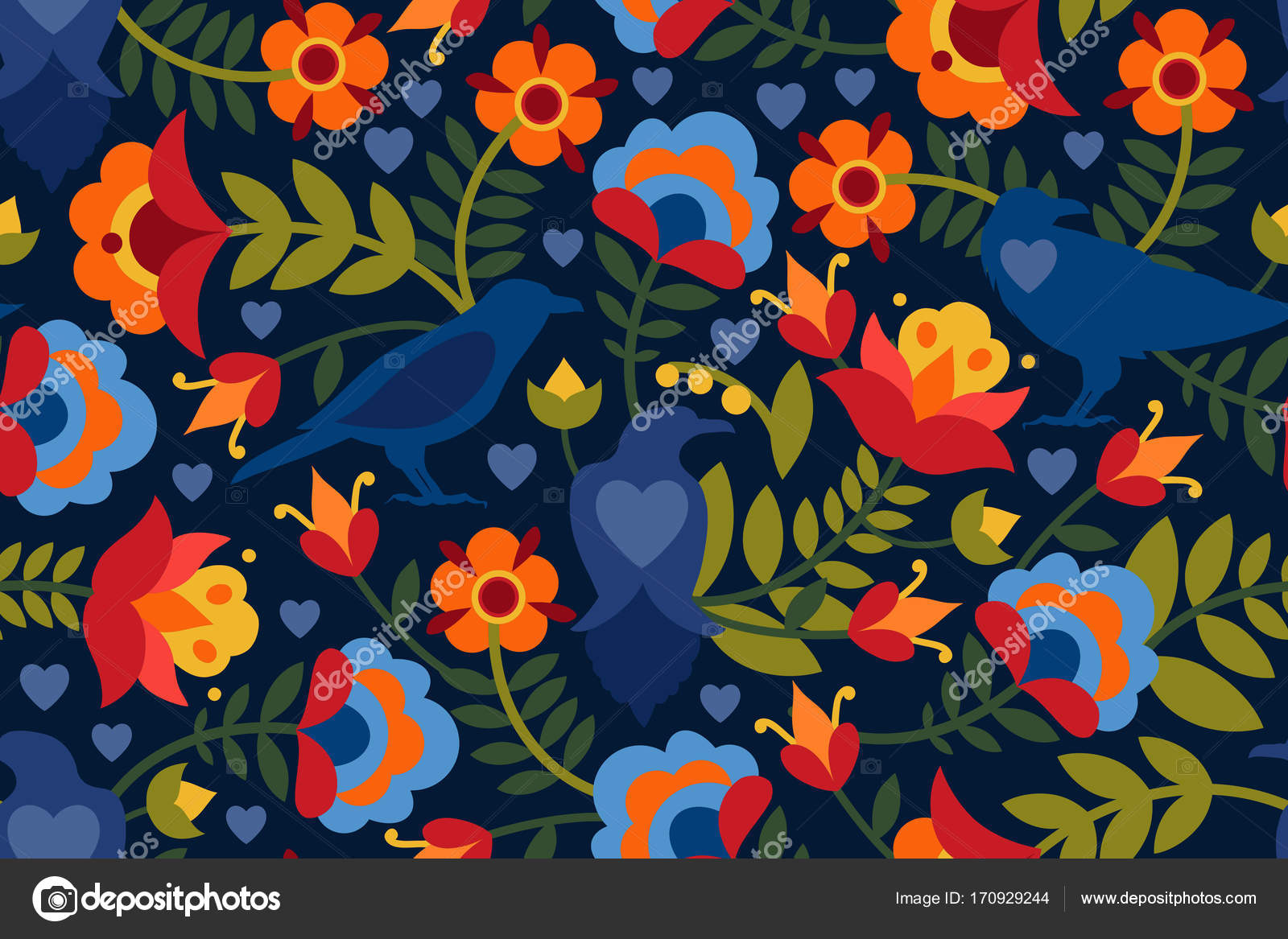 seamless pattern with raven symbols of the heart and flowers background with flat shapes in. Black Bedroom Furniture Sets. Home Design Ideas