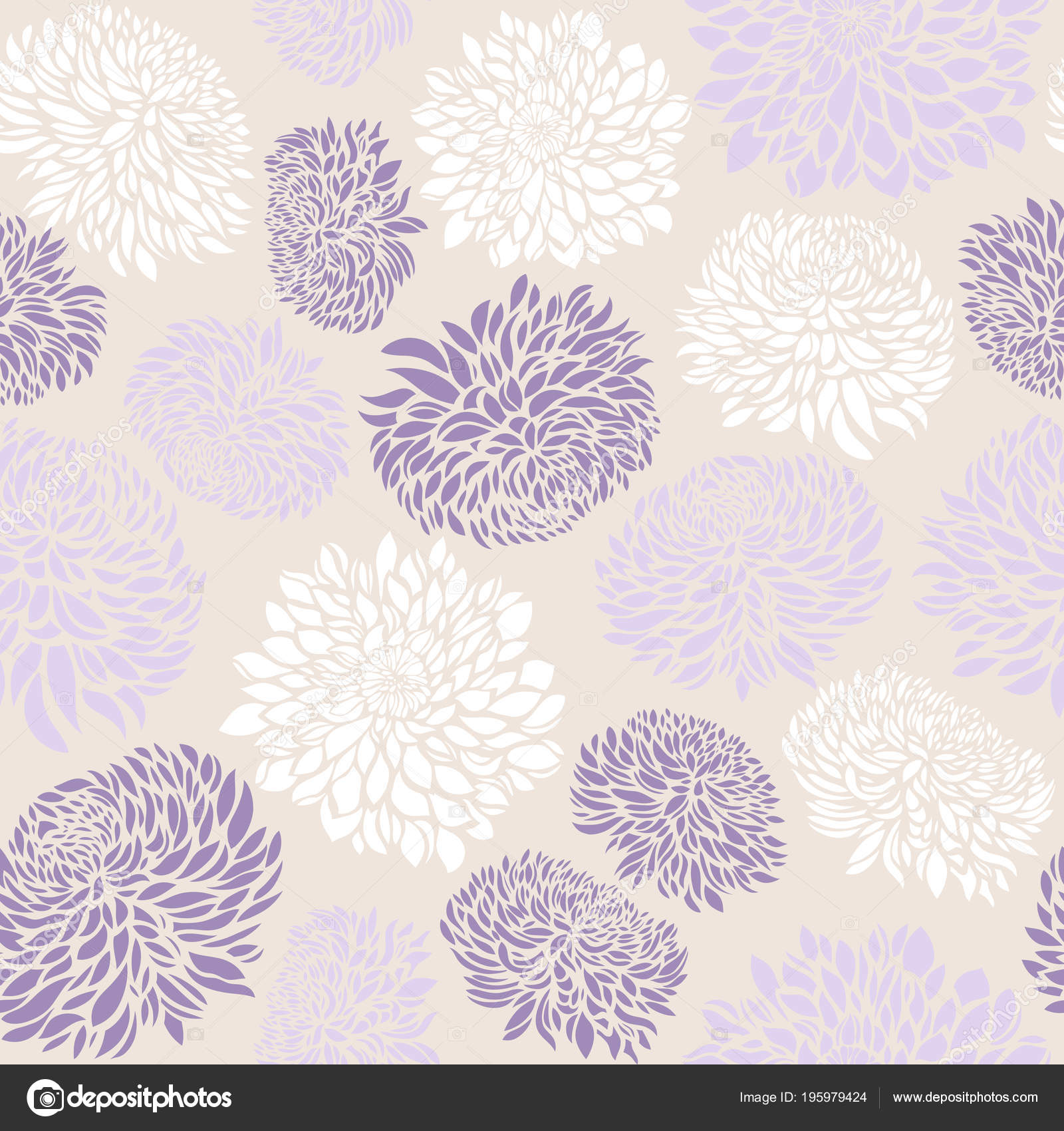 Seamless Pattern Chrysanthemum Flowers Vector Illustration Stock