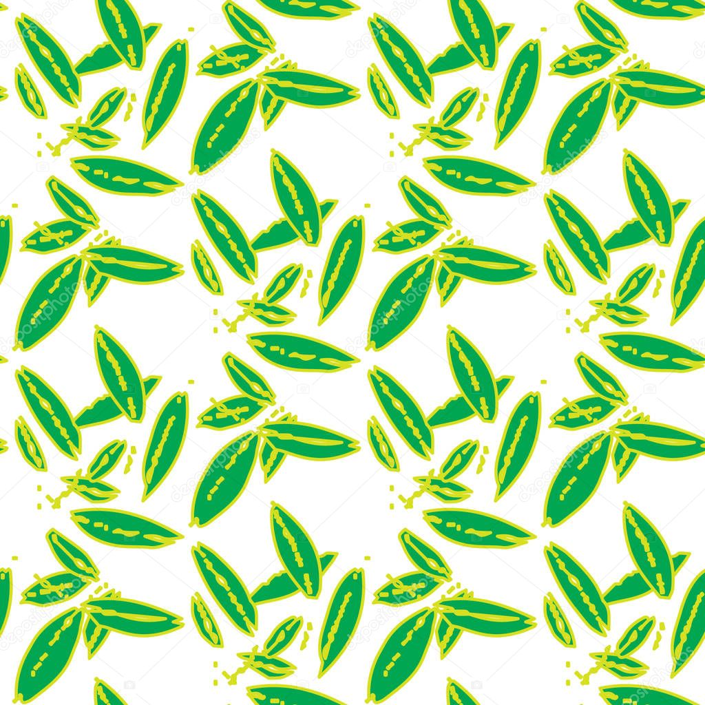 leafs green floral Abstract seamless pattern with simple elements