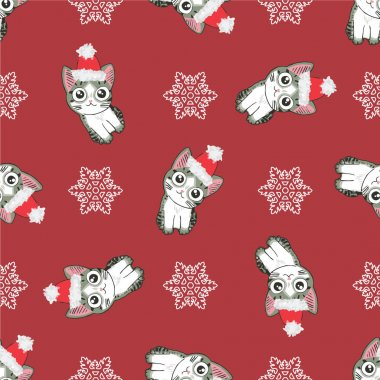 Christmas seamless pattern with the image of little cute kittens in the hat of Santa Claus.