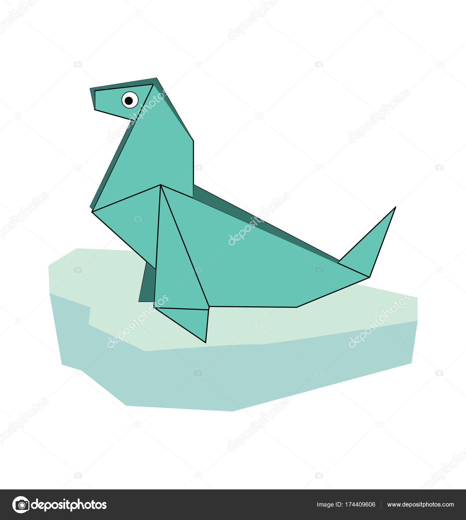 Illustration of folded paper models seal on iceberg on white illustration of folded paper models seal on iceberg on white background vector illustration jeuxipadfo Gallery