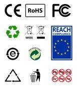 Fotografie Známka recyklace. Ochrana životního prostředí. RoHS. Dosah. Podepsat Eu
