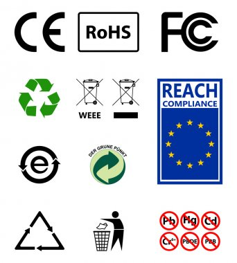 Sign of recycling. Environmental protection. RoHs . Reach. Sign EU