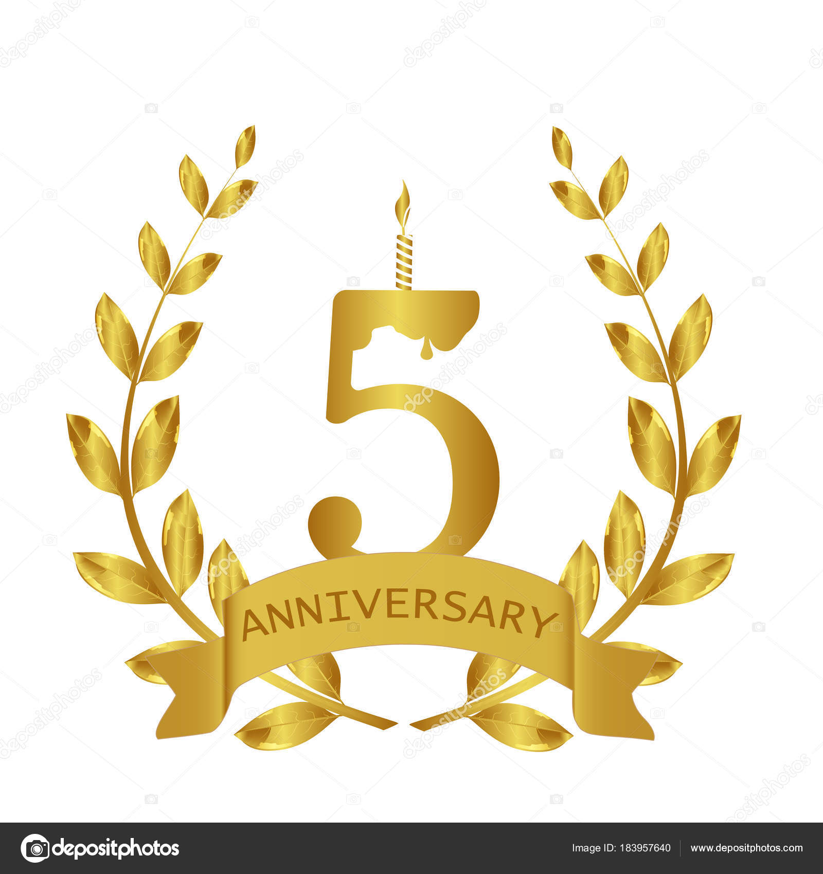 Anniversary 5 years 5th birthday wreath gold stock vector anniversary 5 years 5th birthday wreath gold vector by oksanadesign biocorpaavc Gallery