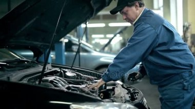 Mechanic inspecting car engine