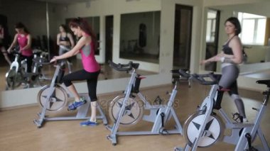 Group sessions on exercise bikes