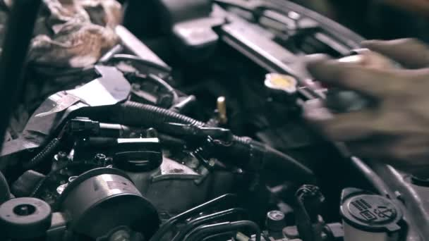 Mechanic cleaning engine parts