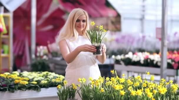 nő virággal pot