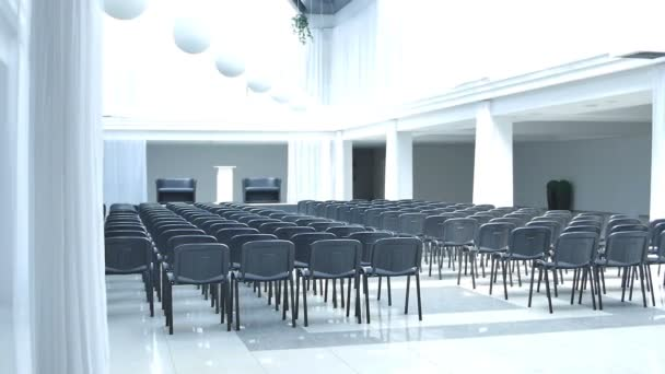 empty hall with black chairs in modern business building