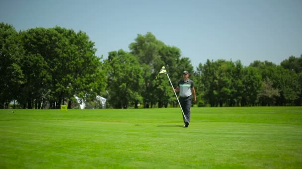 young man play golf on green grass at summer in golf club