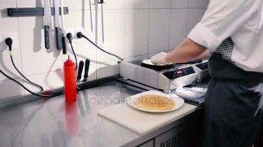 Close-up of pancake cooking