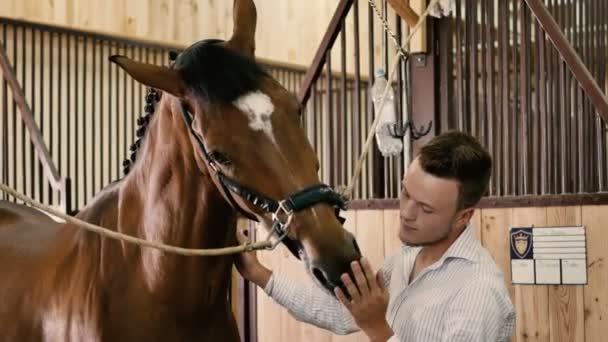 muž mazlit koně ve stáji