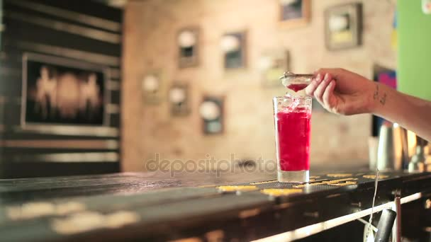 hand make red cocktail