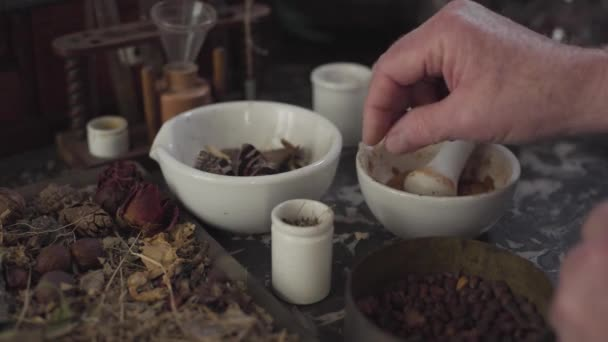 Close-up of Caucasian male hand putting dried butterfly into mortar and grinding ancient medicine with pestle. Healthcare, alternative medicine, retro, vintage.