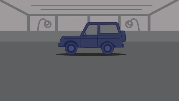 2D animation, blue car driving in, two Caucasian hands shaking at the foreground, Rental sign appearing. Car dealership, car business.