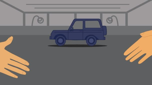 2D animation, blue car driving in, two Caucasian hands shaking at the foreground, French Sale sign appearing. Sale and purchase deal, car dealership, trading, purchasing, selling, car business.
