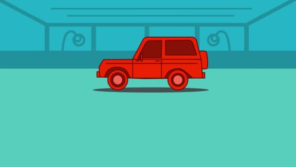2D animation, red car driving in, two Caucasian hands shaking at the foreground, Sold sign appearing. Sale and purchase deal, car dealership, trading, purchasing, selling, car business.