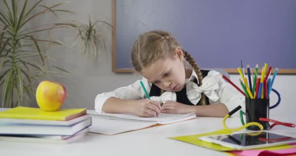 Portrait of cute Caucasian schoolgirl with pigtails sitting at the table and writing in exercise book. Diligent elementary student doing homework. Education concept, intelligence. Cinema 4k ProRes HQ.