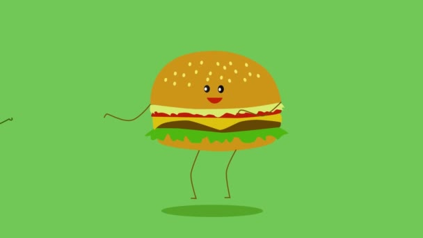 2D animation, hot dog jumping, avocado coming in and junk food disappearing. Healthy lifestyle, healthy foods.