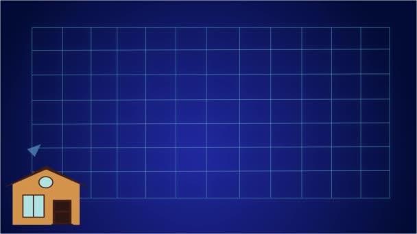 2d-Animation, Pfeil nach oben auf Grafik auf blauem Hintergrund als immer größere Häuser erscheinen am unteren Rand. Steigerung von Bevölkerung und Einkommen, Globalisierung, Überbevölkerung, Konsum.