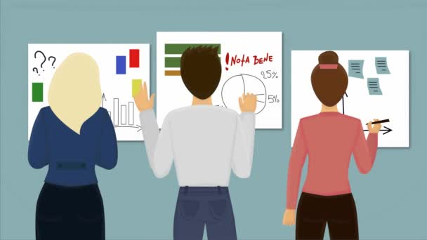 2D animation, back view of three people standing in front of business graphics. Team of men and women working on project together. Teamwork, lifestyle, professionals.