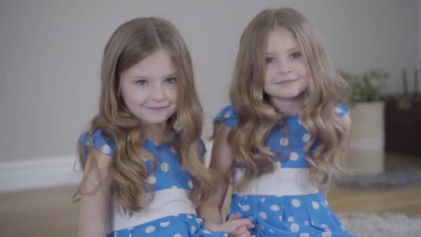 Portrait of two charming little brunette girls looking at camera and smiling. Caucasian twin sisters in similar dresses posing at home. Happiness, lifestyle, unity.