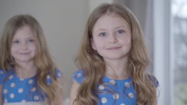 Portrait of happy little brunette girl with grey eyes looking at camera as her twin sister standing at the background. Cheerful girls in blue dotted dresses posing indoors. Focused at the foreground.