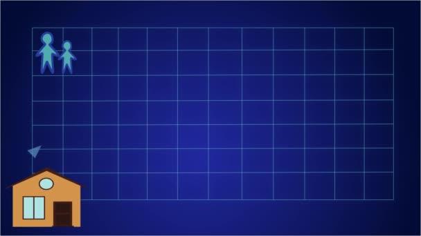 2D-Animation, blauer Pfeil, der sich auf der Grafik nach oben bewegt, als Häuser am unteren Rand erscheinen. Figuren von Erwachsenen und Kindern in der linken oberen Ecke. Bevölkerungszunahme, Globalisierung, Überbevölkerung.