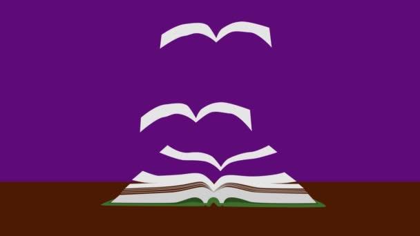 2d-Animation, aufgeschlagenes Buch, das auf dem Tisch vor violettem Hintergrund liegt. Buchseiten fliegen auf wie Vögel und gehen. Wissensverbreitung auf der ganzen Welt. Konzept von Bildung, Intelligenz, Literatur.