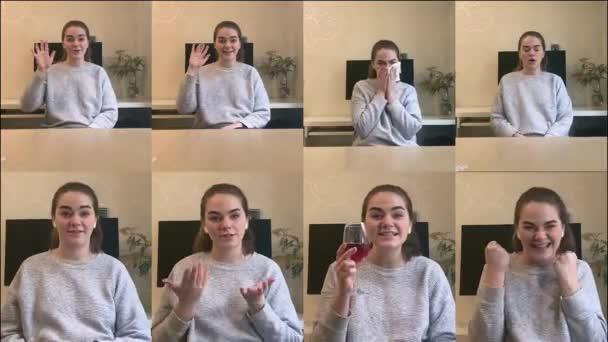 Multiscreen stejné bělošky s různými emocemi. Mladá brunetka mluví, pije červené víno, kýchá, zívá, ukazuje palce nahoru a mává na kameru. Video chat, životní styl.