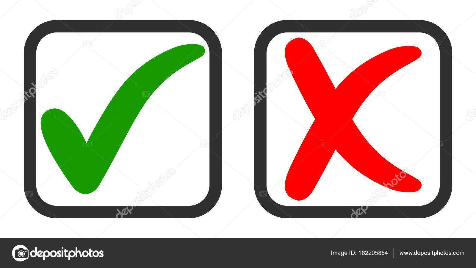 Icons Yes And No Voting For And Against Vector Green Tick And Red