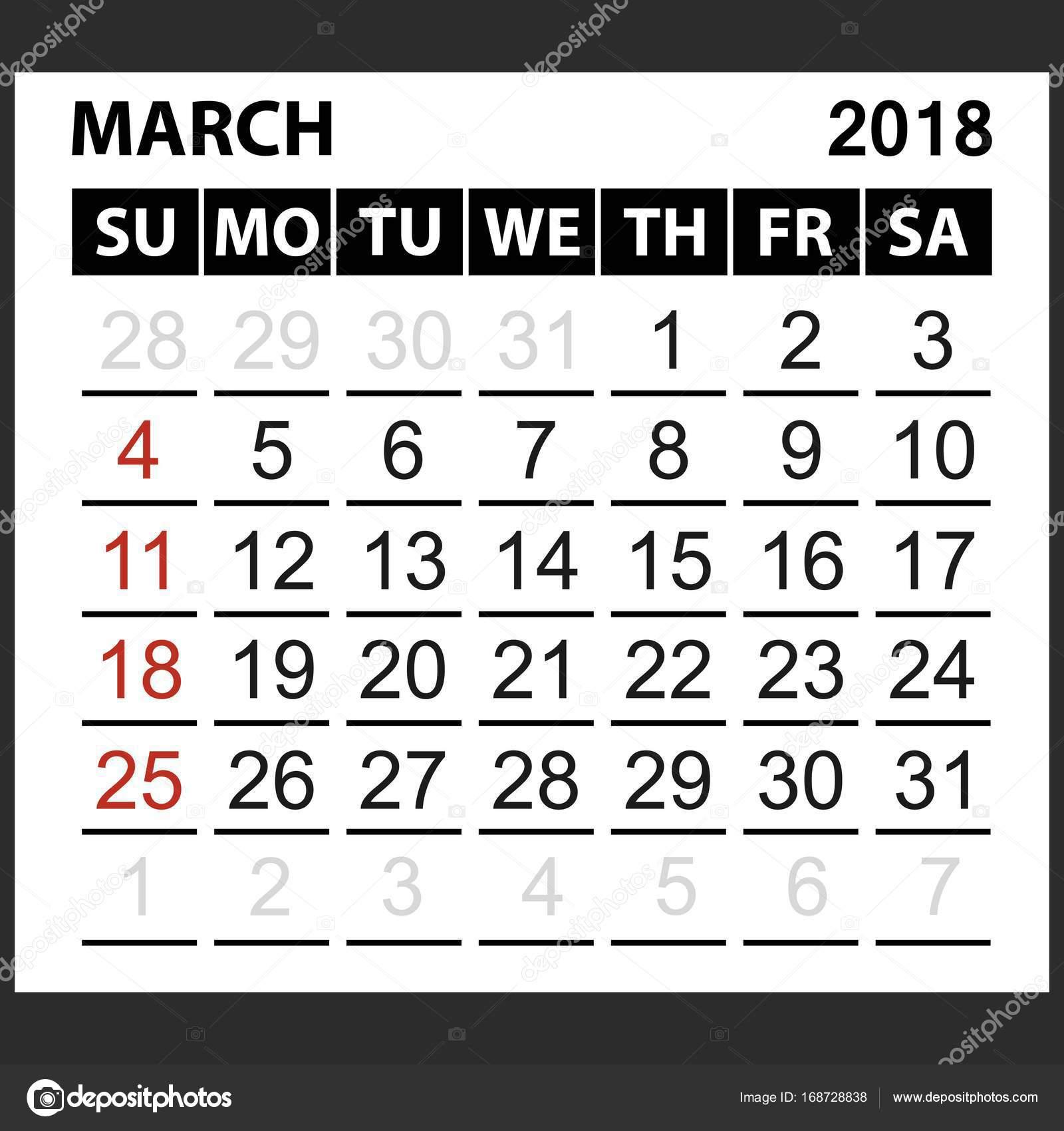 calendar sheet march 2018 stock vector