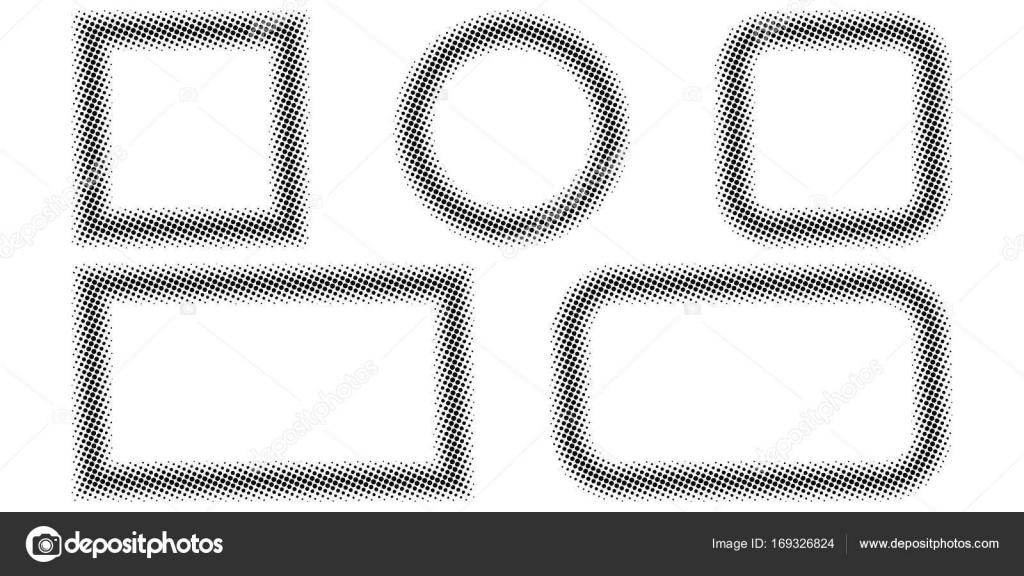 Marco de fotos, efecto de trama de semitonos, vector conjunto de ...