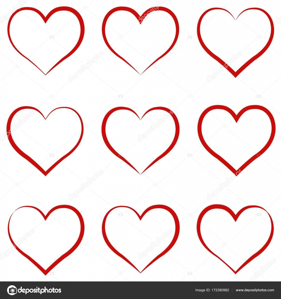 Heart Outline Red Set Symbol Of The Friendship And Intimacy Of