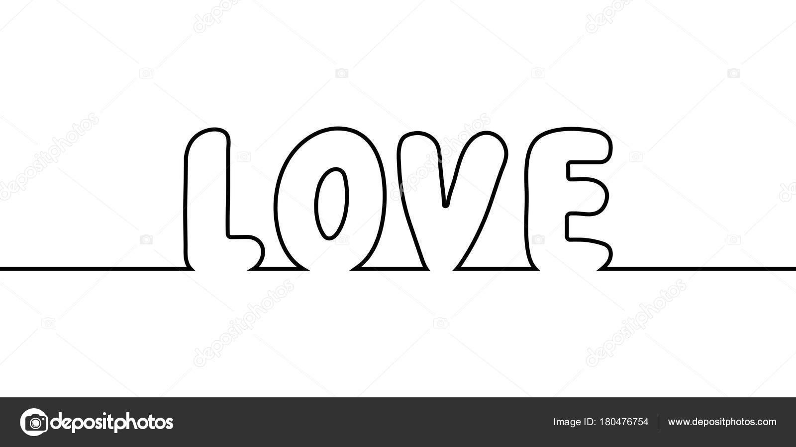 Palabra Amor Texto Una Línea Dibujo, Vector Dibujos