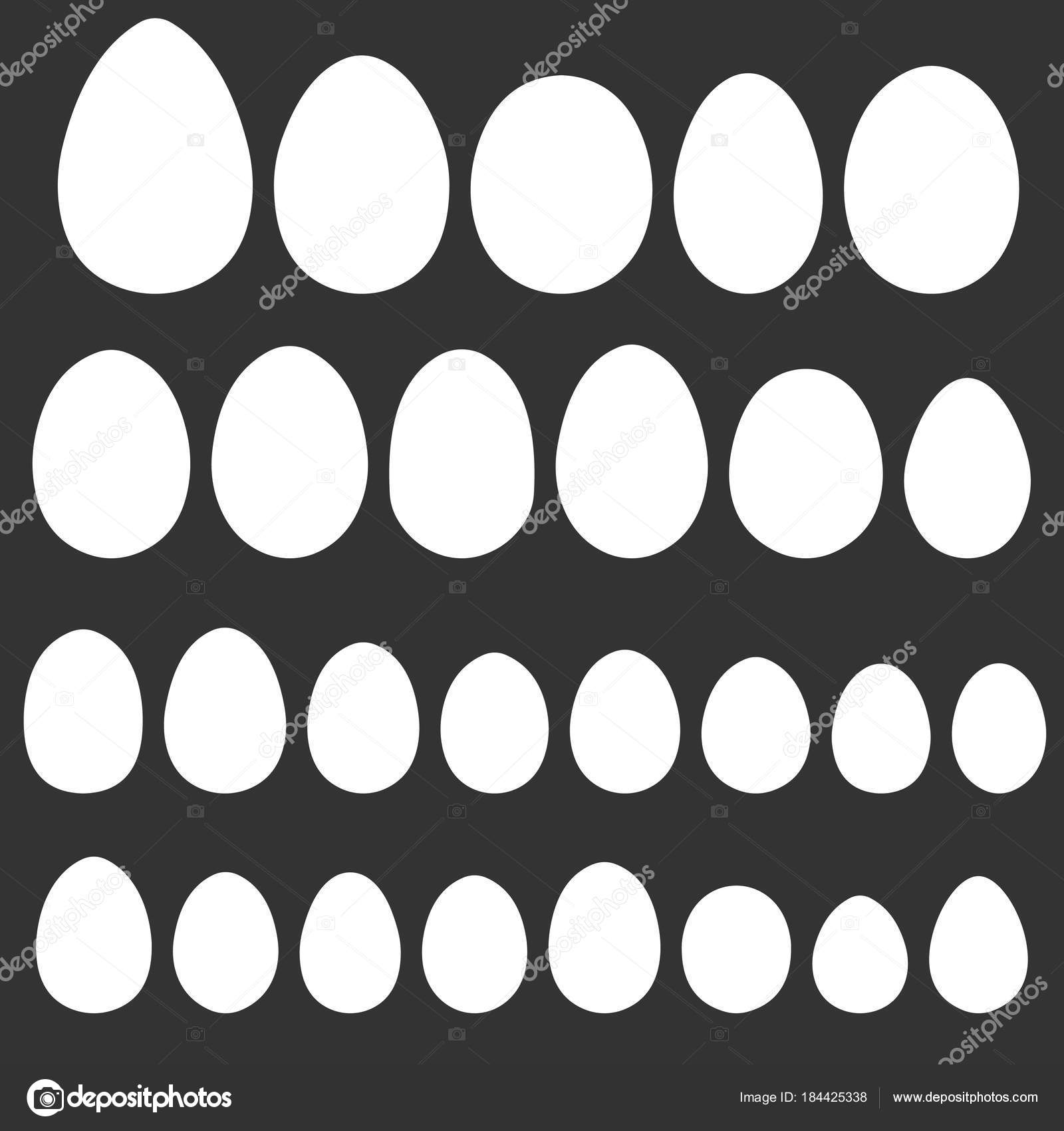 Set egg shape template for hand drawing for Easter holiday vector