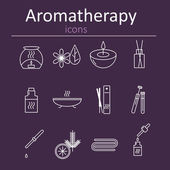 Banner or poster icons aromatherapy. Symbols of relaxation and spa.