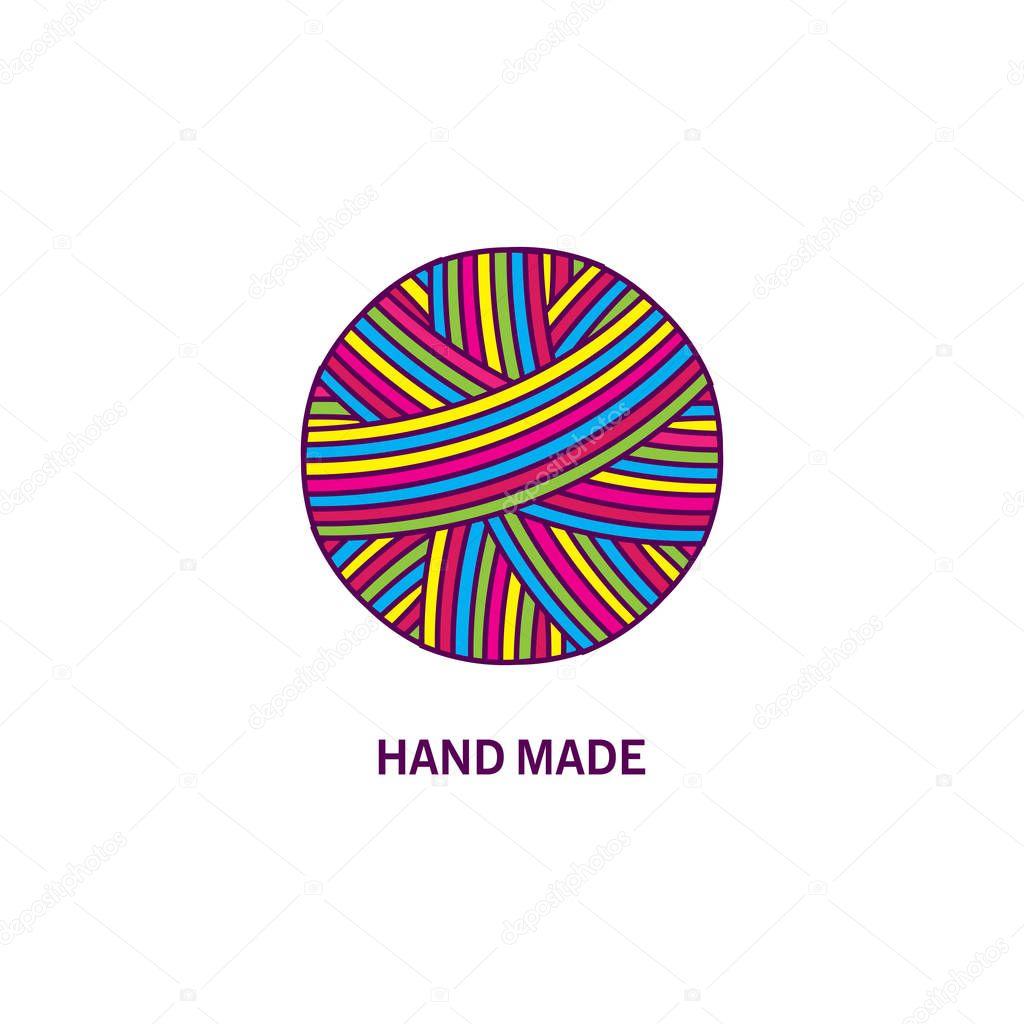 Kleurrijke Bal Van Garen. Logo Creatie En Met De Hand Gemaakt.  Vectorillustratie U2014 Stockvector
