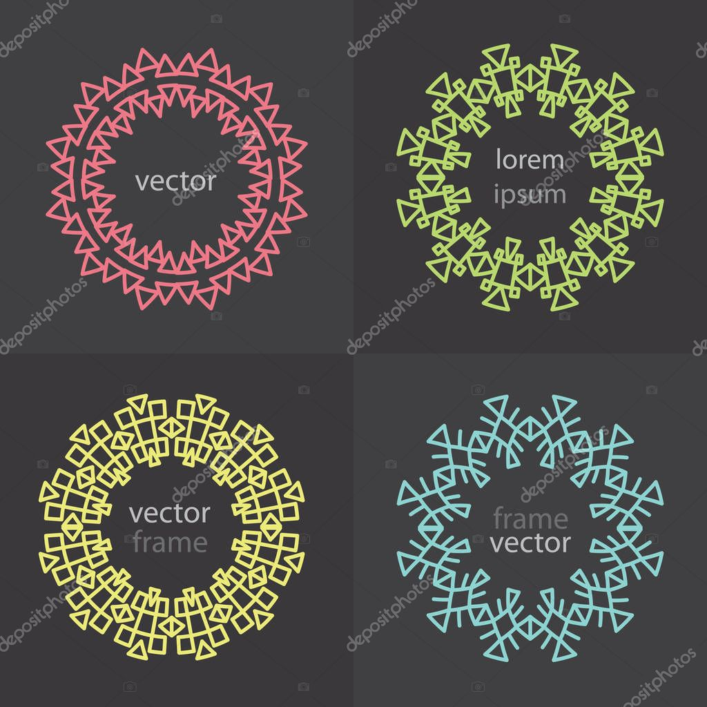 four round geometric frame templates for text formatting vector