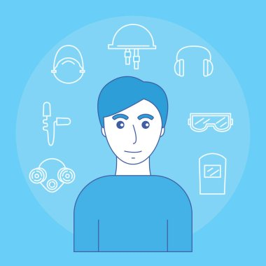 Image of man and icons of personal protective equipment sight, hearing, smell and head. Vector illustration.