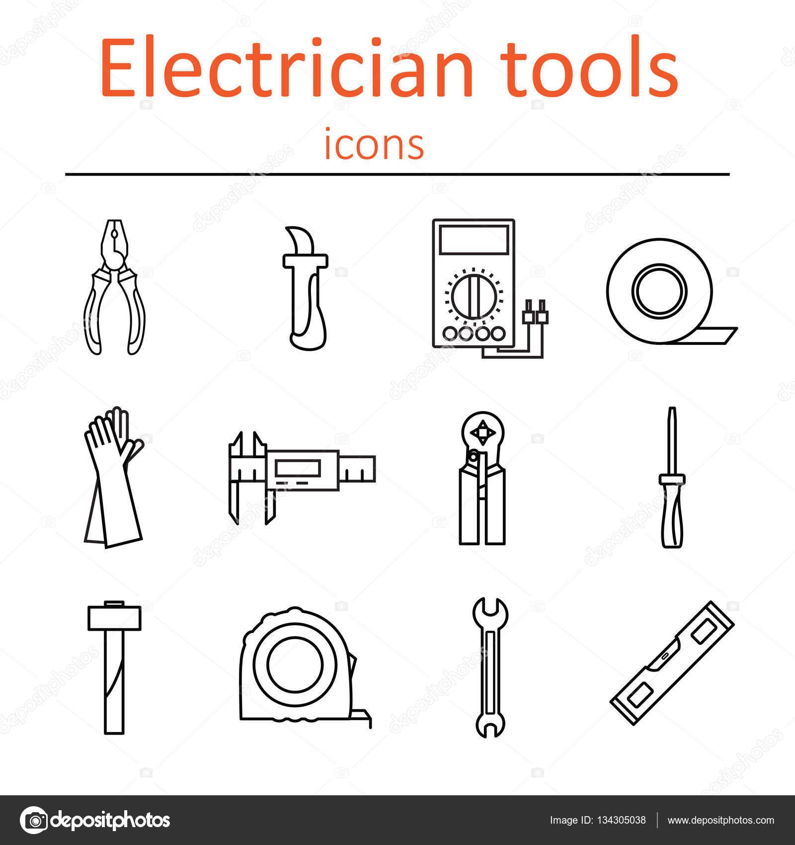 icono conjunto de electricista herramientas  ilustraci u00f3n de vector  u2014 vector de stock