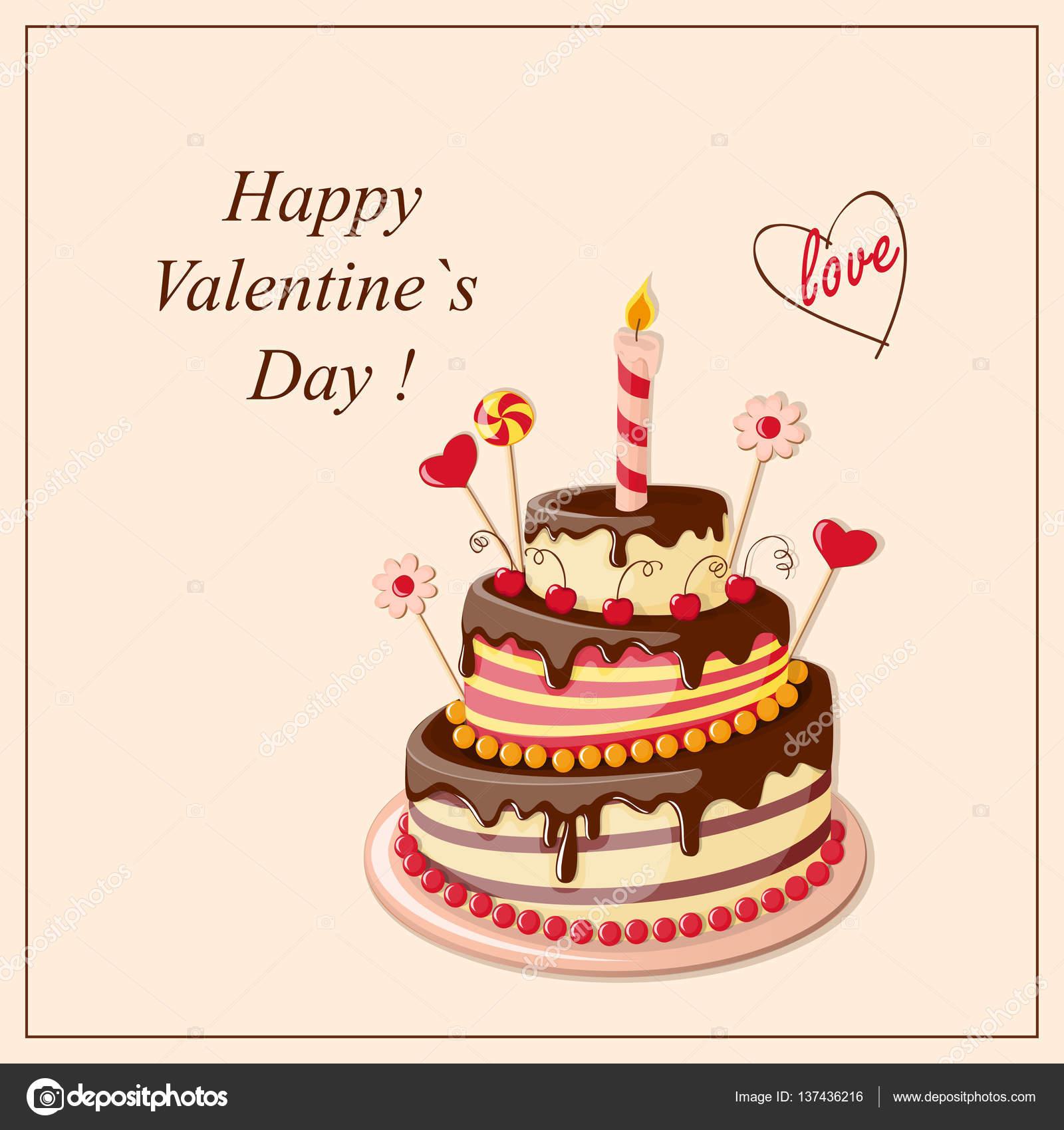 Valentine cake frame — Stock Vector © sliplee #137436216